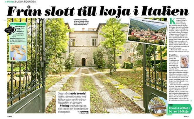 Resereportage från Italien i Aftonbladet Söndag